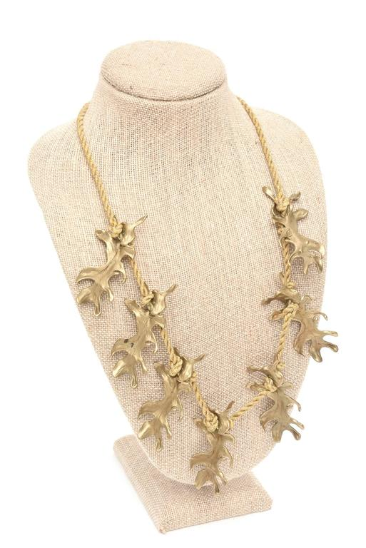 Mary McFadden Bronze & Silk Braided Rope Couture Sculptural Necklace 6