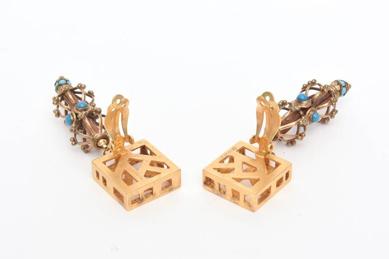 Pair of Sculptural Signed Cage and Square Dangle Earrings / SALE For Sale 2