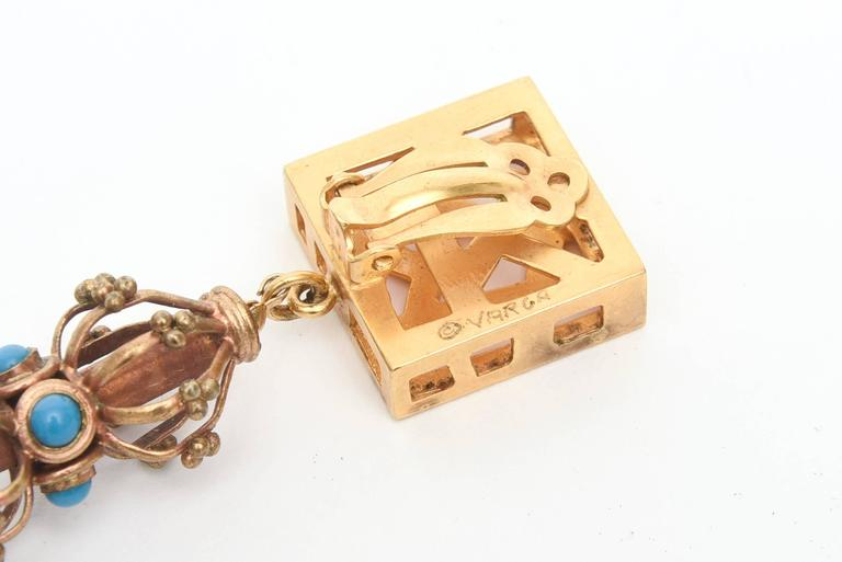 Pair of Sculptural Signed Cage and Square Dangle Earrings / SALE For Sale 1