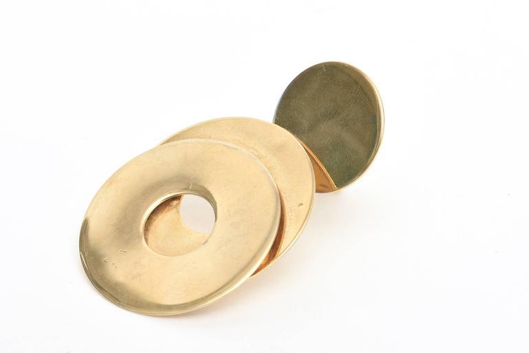 Women's Sculptural 3-Disc Earrings  For Sale