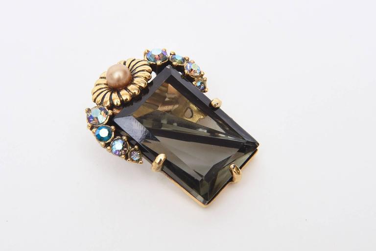 Elsa Schiaparelli Faceted Crystal Clip on Earrings Mid Century Modern For Sale 2