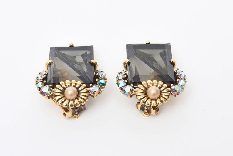 Bead Elsa Schiaparelli Faceted Crystal Clip on Earrings Mid Century Modern For Sale