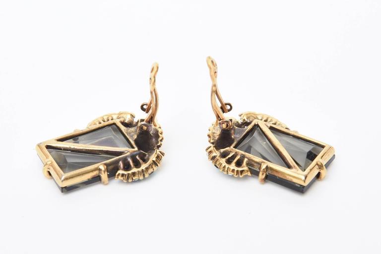 Elsa Schiaparelli Faceted Crystal Clip on Earrings Mid Century Modern For Sale 1