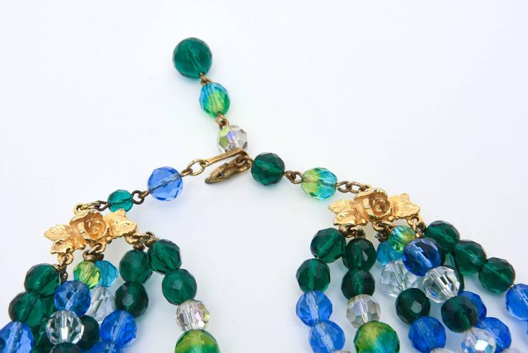 Schiaparelli Turquoise & Green Glass Strand Necklace & Clip on Earrings Vintage For Sale 1