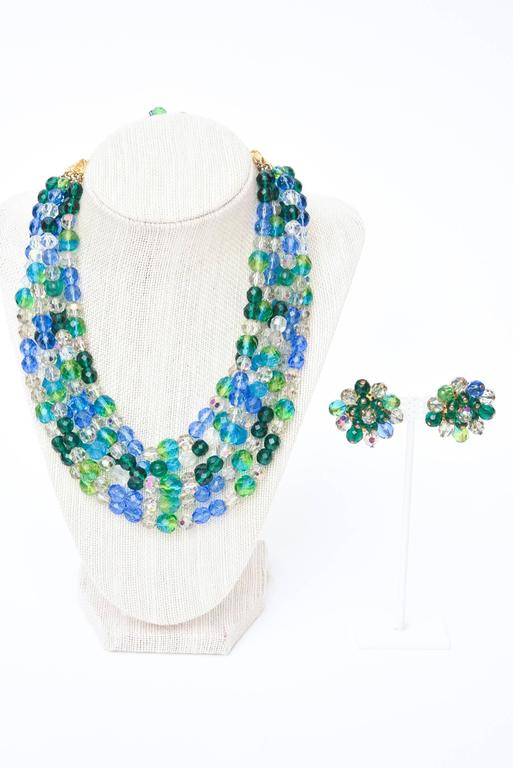 Schiaparelli Turquoise & Green Glass Strand Necklace & Clip on Earrings Vintage For Sale 5