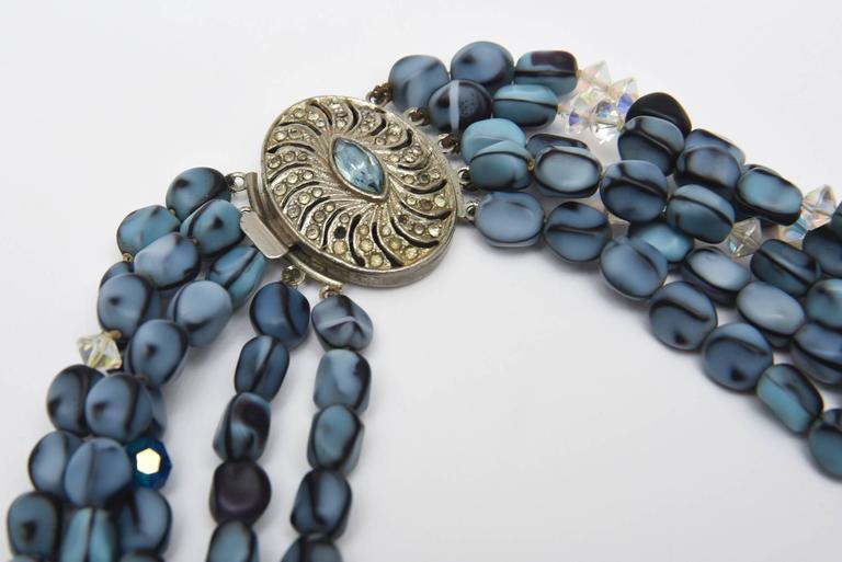 Women's 5 Strand Murano Glass Bead Necklace / SATURDAY SALE For Sale