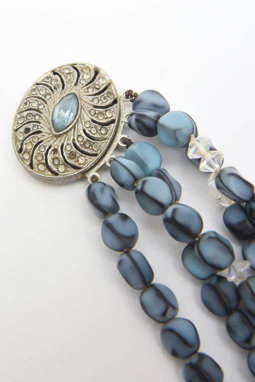 5 Strand Murano Glass Bead Necklace / SATURDAY SALE For Sale 1