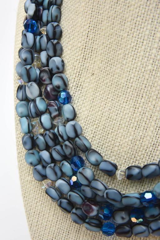 5 Strand Murano Glass Bead Necklace / SATURDAY SALE For Sale 2