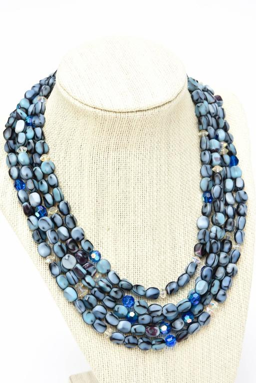 5 Strand Murano Glass Bead Necklace / SATURDAY SALE For Sale 3