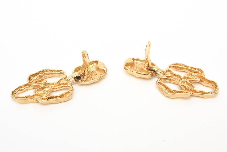 Gold Plated Textural Pair of Sculptural Clip On Dangle Earrings For Sale 1