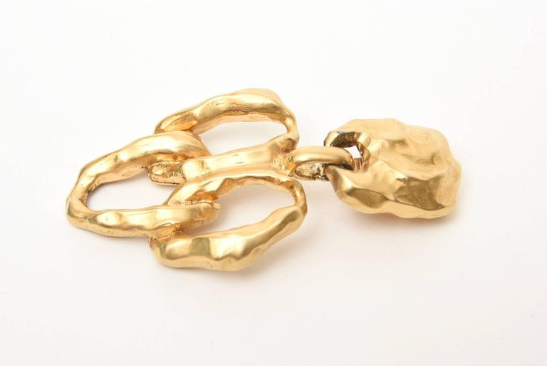 Women's Gold Plated Textural Pair of Sculptural Clip On Dangle Earrings For Sale