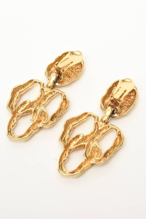 Modern Gold Plated Textural Pair of Sculptural Clip On Dangle Earrings For Sale