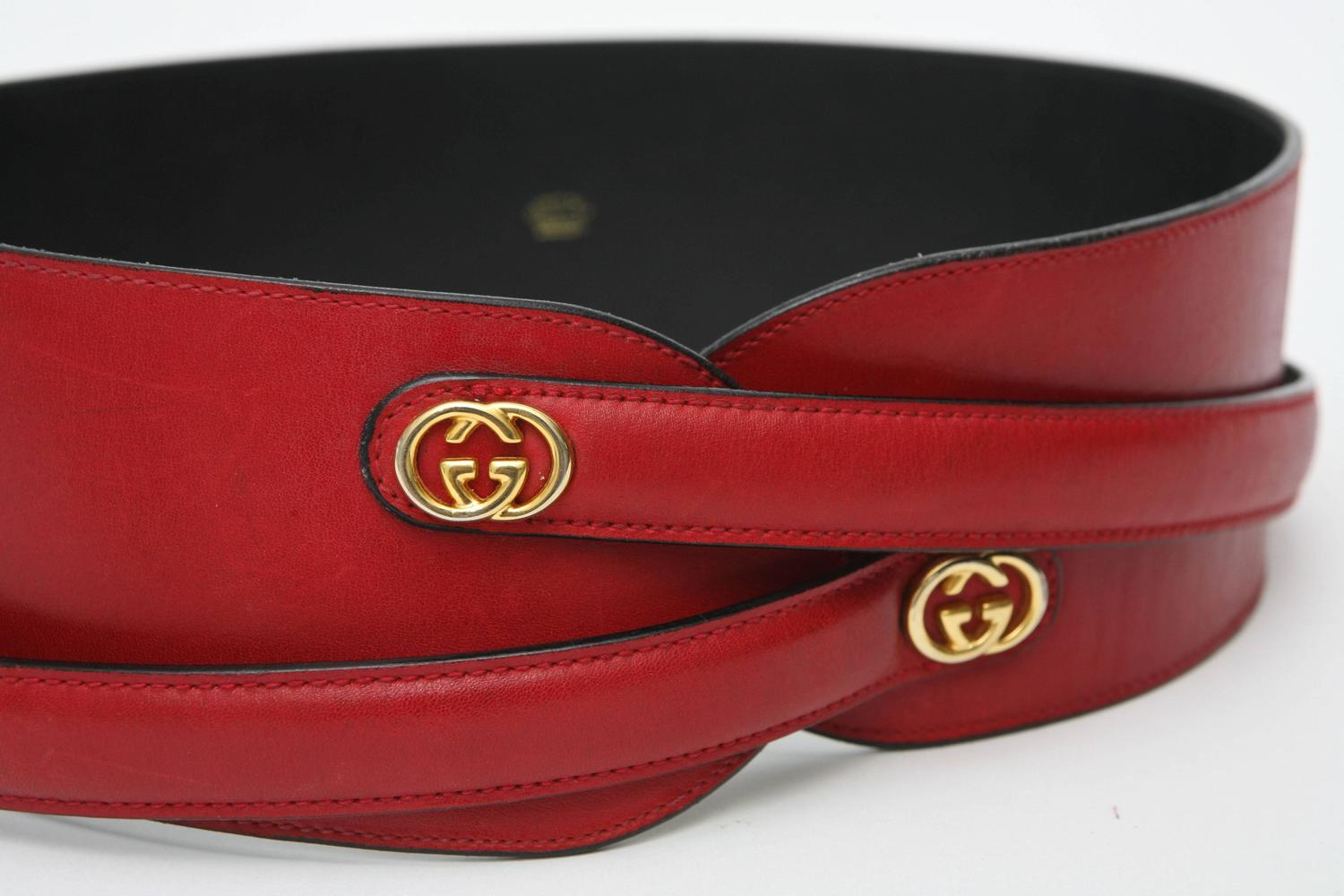 Red Leather Gucci Wide Waist Belt SATURDAY SALE For Sale ...