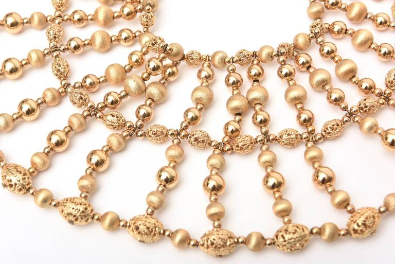 Napier Cleopatra Style Beaded Collar Necklace Vintage In Good Condition For Sale In North Miami, FL