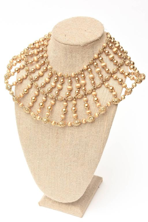 Napier Cleopatra Style Beaded Collar Necklace Vintage For Sale 3