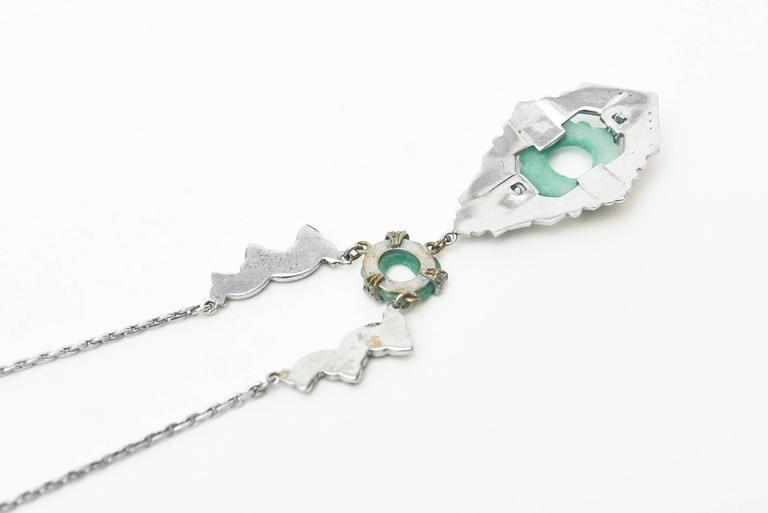 Art Deco Marquisite and Jade Like Stone Necklace                              4