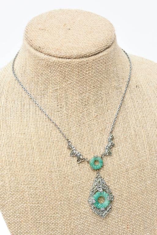 Art Deco Marquisite and Jade Like Stone Necklace                              6