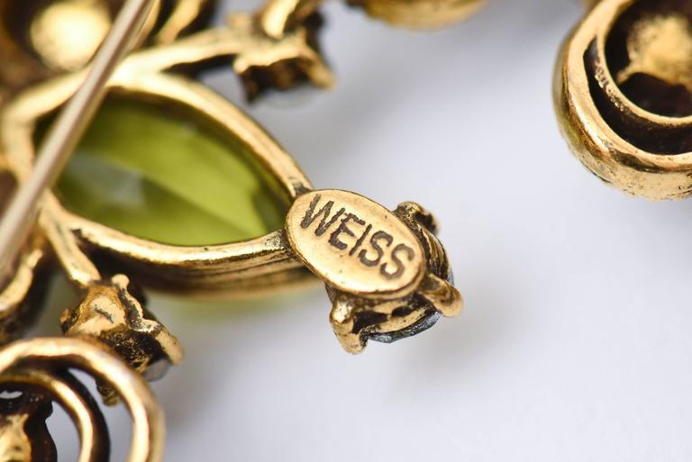 Signed Weiss Chartruese Glass/Rhinestone Half Moon Pin/ Brooch 7