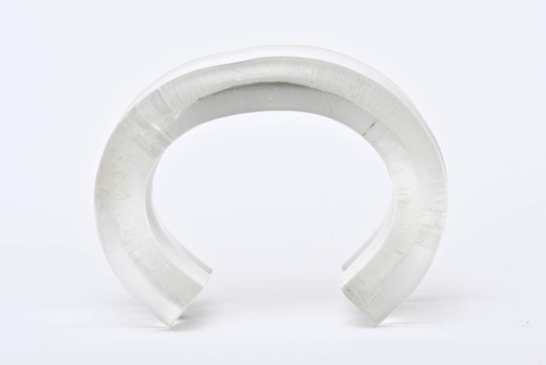 Women's Judith Hendler Lucite Clear and White Cuff Bracelet For Sale