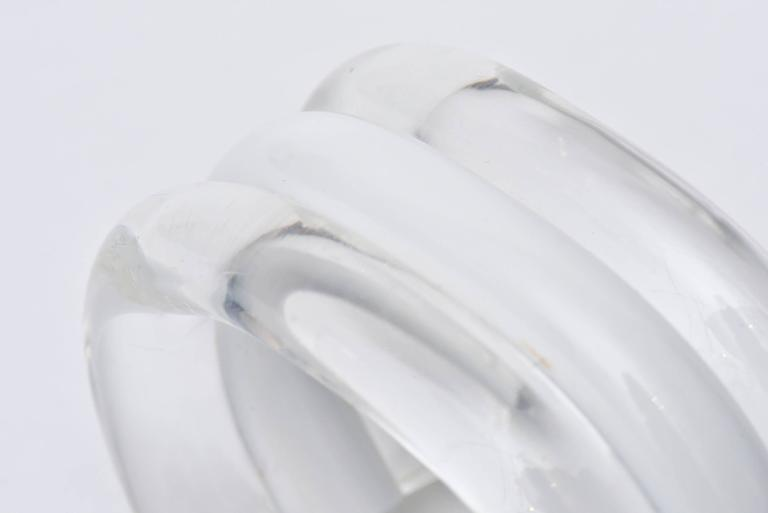 Judith Hendler Lucite Clear and White Cuff Bracelet For Sale 3