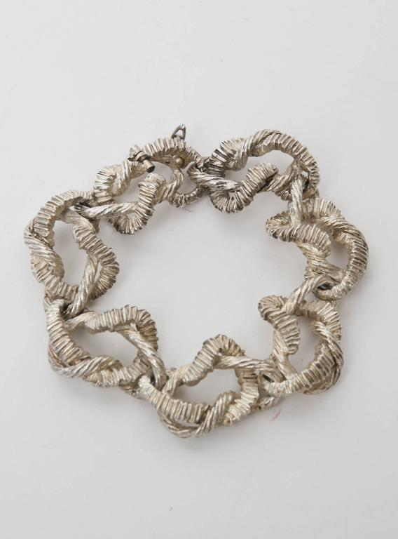 Textural Italian Marked Sterling Silver Link Bracelet For