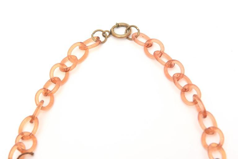 Women's Tortoise Resin Fringe Collar Bib Necklace Vintage For Sale