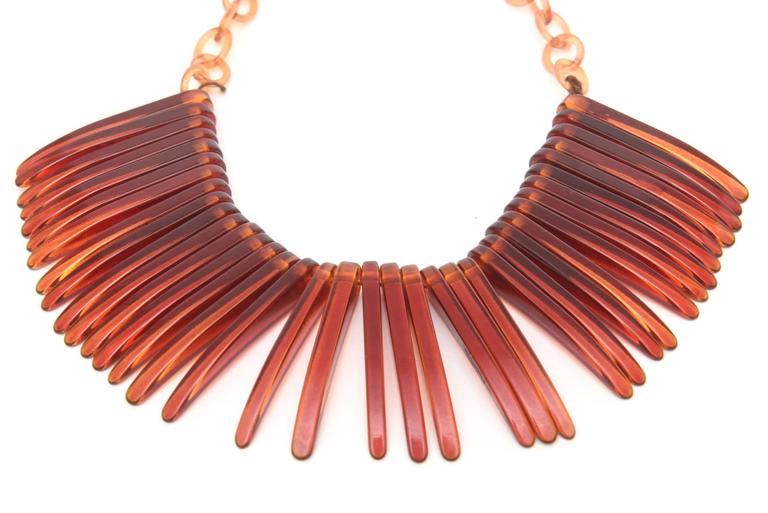 Modern Tortoise Resin Fringe Collar Bib Necklace Vintage For Sale
