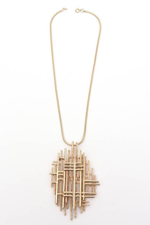 Signed Boucher Gold Plated Modernist Sculptural Pendant Necklace 2