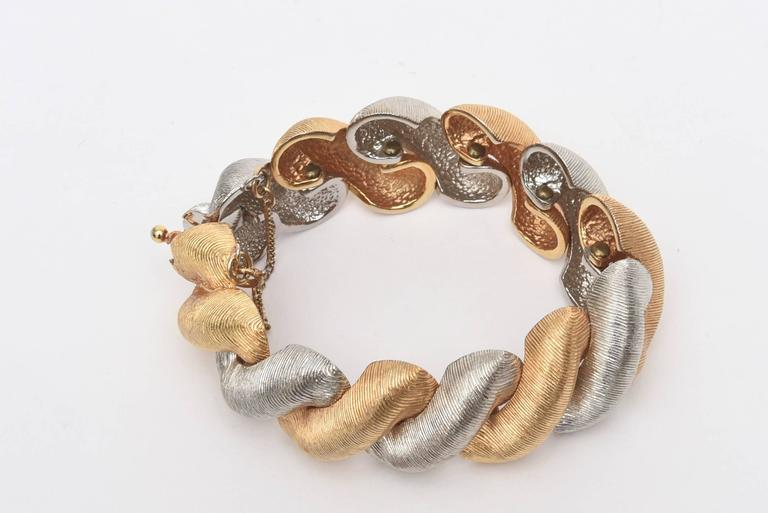 Signed Castlecliff Braided Twisted Gold/Silver Bracelet  For Sale 2