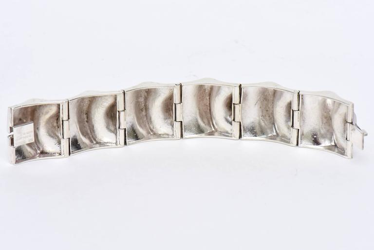 Sirokoro Finland Sterling Silver Sculptural Cuff Bracelet Signed Vintage For Sale 1