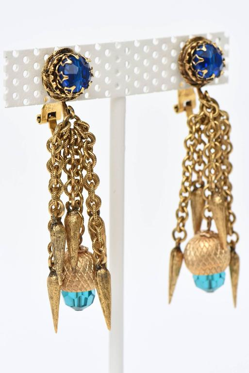 Modern Pair of Vintage Gold Plated & Crystal Chain Dangle Clip On Earrings  For Sale