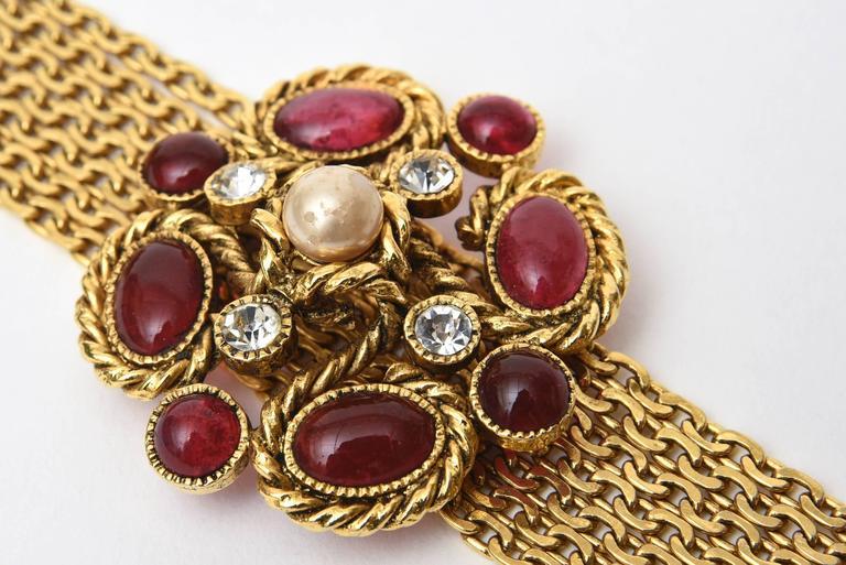 Signed Chanel Rare 8 Flower Gripoux, Pate de Verre Gold Tone &Faux Pearl Belt 3