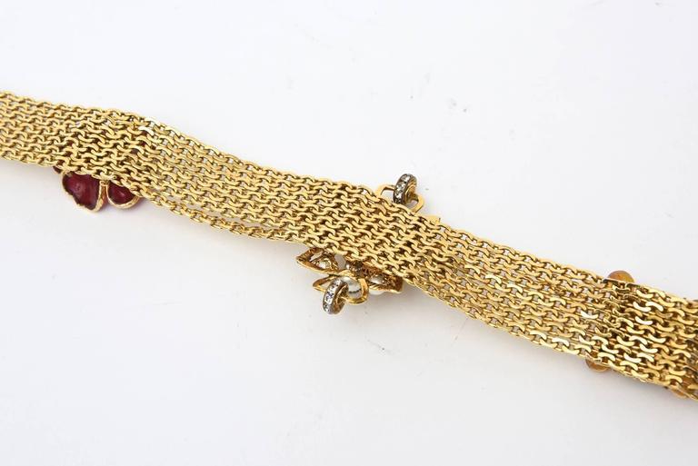 Signed Chanel Rare 8 Flower Gripoux, Pate de Verre Gold Tone &Faux Pearl Belt 9
