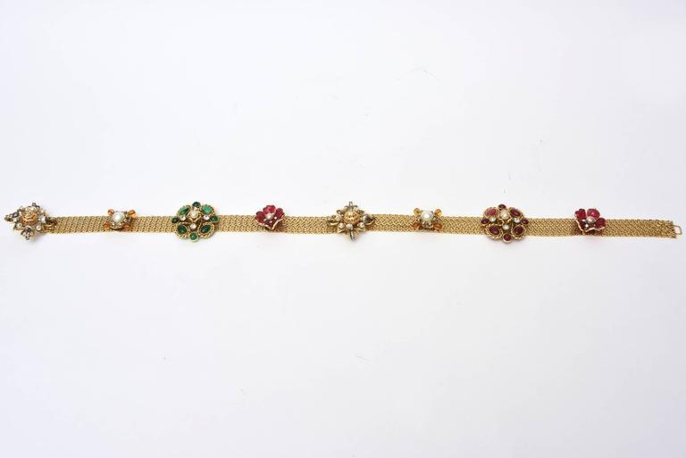 Signed Chanel Rare 8 Flower Gripoux, Pate de Verre Gold Tone &Faux Pearl Belt 2