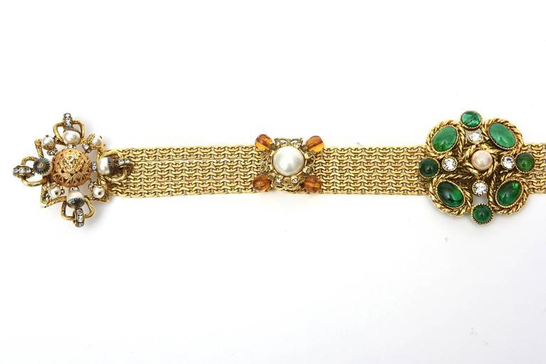 Signed Chanel Rare 8 Flower Gripoux, Pate de Verre Gold Tone &Faux Pearl Belt 6