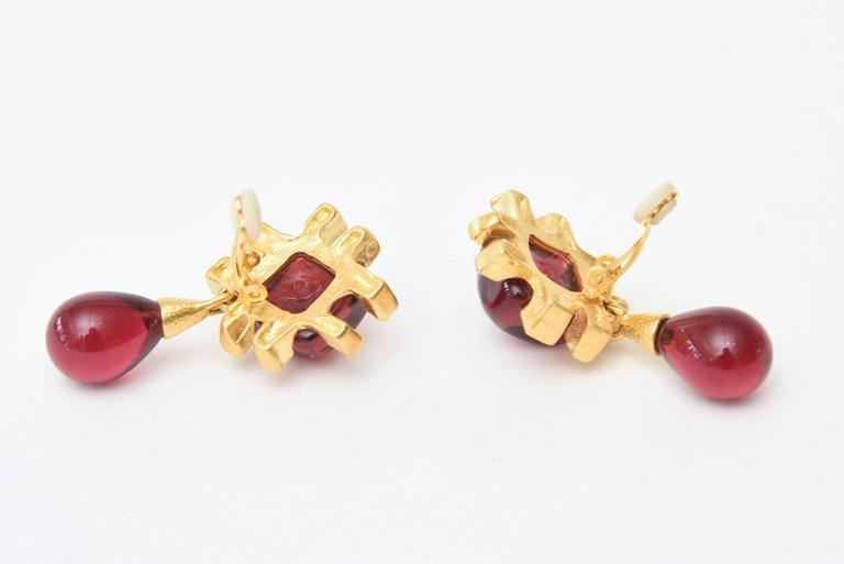 Modern Andrew Springarn Glass & Gold Plated Dangle Earrings Clip On For Sale