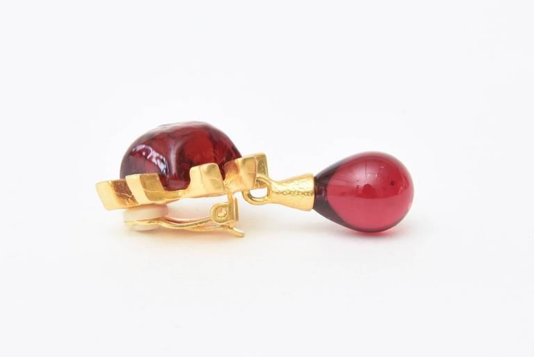 Women's Andrew Springarn Glass & Gold Plated Dangle Earrings Clip On For Sale