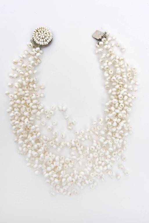 Modern  Langani Multi Strand Beaded Necklace and Pair Of Clip On Earrings Vintage Set For Sale