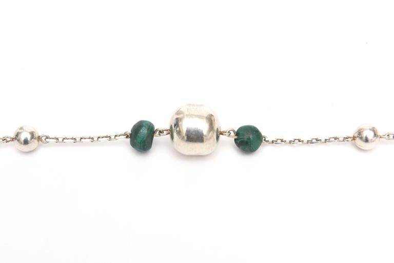 Women's Sterling Silver and Malachite Beaded Chain Strand Necklace   For Sale