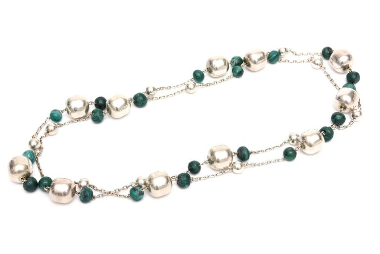 Modern Sterling Silver and Malachite Beaded Chain Strand Necklace   For Sale