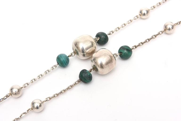 Sterling Silver and Malachite Beaded Chain Strand Necklace   In Excellent Condition For Sale In North Miami, FL
