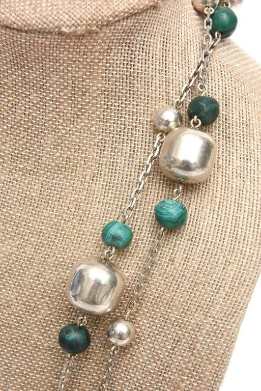 Sterling Silver and Malachite Beaded Chain Strand Necklace   For Sale 3