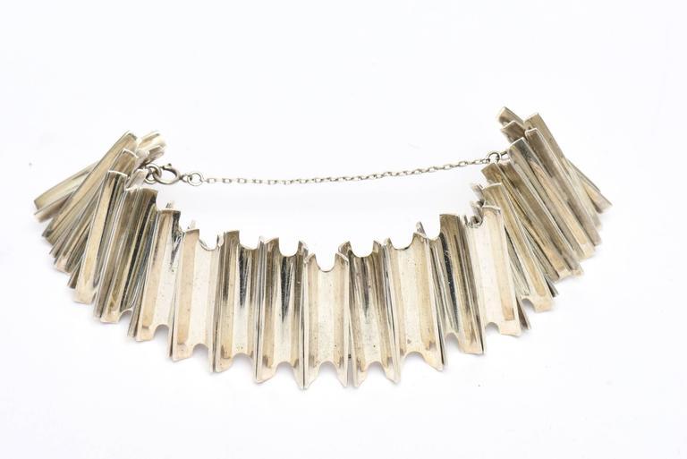 Hallmarked Sterling Silver Sculptural Cuff Bracelet  In Excellent Condition For Sale In North Miami, FL
