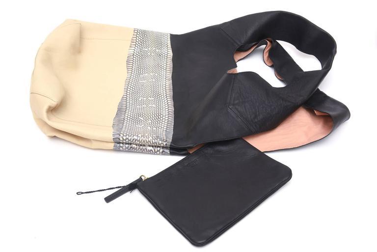 Celine Leather and Snakeskin Hobo Shoulder Bag Vintage For Sale 2