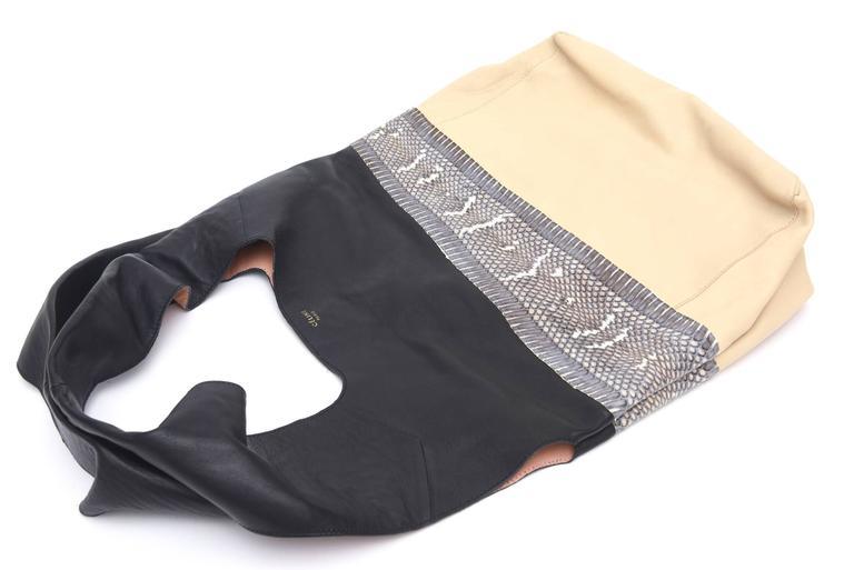 Beige Celine Leather and Snakeskin Hobo Shoulder Bag Vintage For Sale