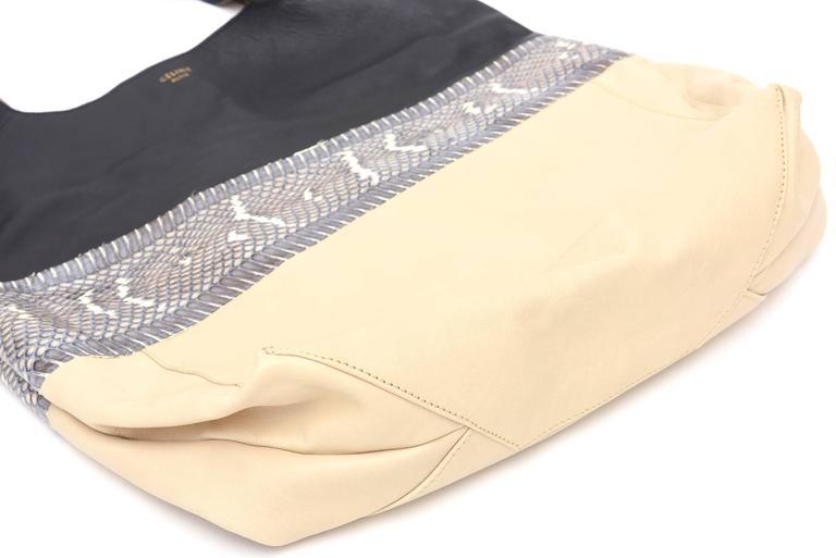 Celine Leather and Snakeskin Hobo Shoulder Bag Vintage For Sale 1