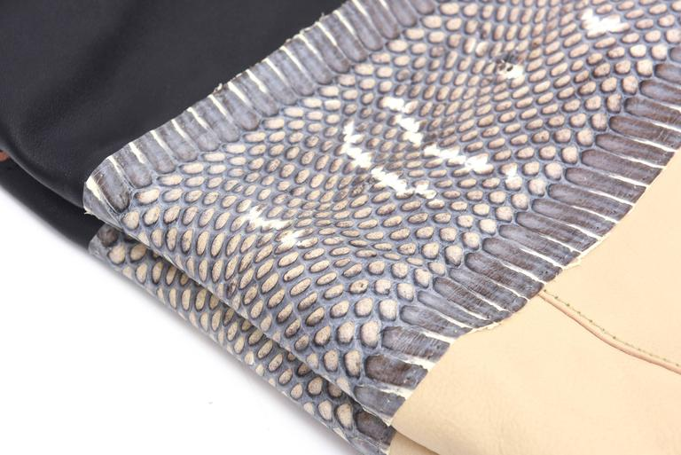 Women's Celine Leather and Snakeskin Hobo Shoulder Bag Vintage For Sale