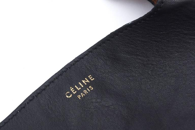 Celine Leather and Snakeskin Hobo Shoulder Bag Vintage For Sale 4