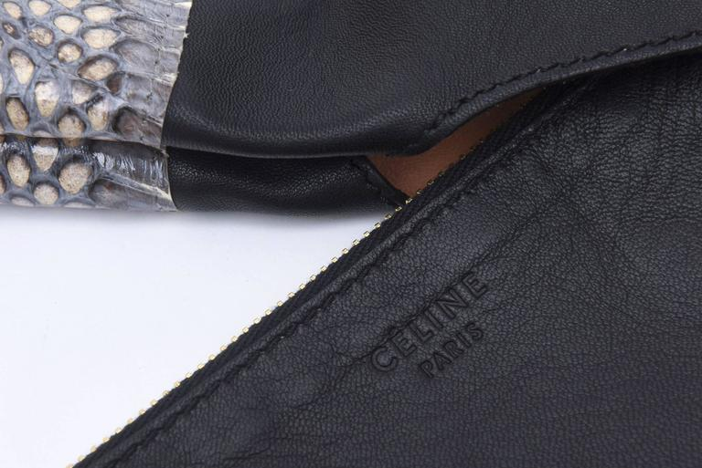 Celine Leather and Snakeskin Hobo Shoulder Bag Vintage For Sale 5
