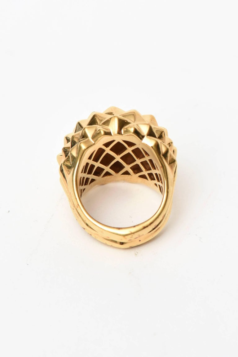 Stephen Webster Gold Plate Over Sterling Silver Stud Dome Ring  In New Condition For Sale In North Miami, FL
